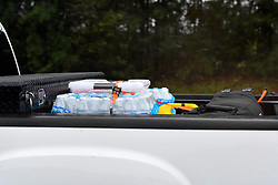 Emergency supplies sit in the back of a pick up as heavy rain hinders southbound traffic on Interstate I-75 in Georgia, towards Jacksonville, FL as the remainders of Hurricane Irma move past towards the North.