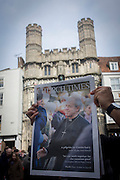 Canterbury 21/3/2013 - The Anglican Church Times is handed out as VIP guests from all religions, denominations and faiths arrive before the enthronement of the Church of England's 105th Archbishop of Canterbury, ex-oil executive and former Bishop of Durham the Right Reverend Justin Welby. Welby (57) follows a long Anglican heritage since Benedictine monk Augustine, the first Archbishop of Canterbury in 597AD Prince Charles and Prime Minister David Cameron joined 2,000 VIP guests to Canterbury Cathedral, the oldest church in England which has attracted pilgrims since Thomas a Becket was murdered in the Cathedral in 1170.