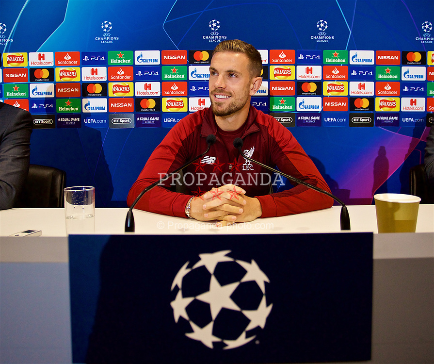 LIVERPOOL, ENGLAND - Monday, September 17, 2018: Liverpool's captain Jordan Henderson during a press conference ahead of the UEFA Champions League Group C match between Liverpool FC and Paris Saint-Germain at Anfield. (Pic by David Rawcliffe/Propaganda)