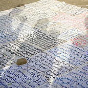 Protest signs of Magdy Iskander in Tahrir Square. Cairo, Egypt.