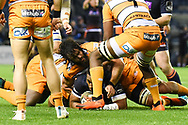 Man of the match Edinburgh's Bill Mata is surrounded during the Guinness Pro 14 2018_19 match between Edinburgh Rugby and Toyota Cheetahs at BT Murrayfield Stadium, Edinburgh, Scotland on 5 October 2018.