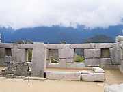 The Incan ruins of The Temple of the Three Windows at Machu Picchu, near Aguas Calientes, Peru.