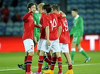 Fotball<br /> Privatlandskamp U21<br /> Norge v Irland / Norway v Ireland<br /> 09.10.2014<br /> Foto: Morten Olsen, Digitalsport<br /> <br /> Norway celebrarting 2:0 by Veton Berisha (19) - Viking / NOR<br /> Kristoffer Haraldseid (2) - Haugesund / NOR   <br /> Kasper Skaanes (14) - Brann / NOR