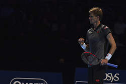November 15, 2018 - London, England, United Kingdom - Kevin Anderson of South Africa reacts during his round robin match against Roger Federer of Switzerland during Day Five of the Nitto ATP Finals at The O2 Arena on November 15, 2018 in London, England. (Credit Image: © Alberto Pezzali/NurPhoto via ZUMA Press)