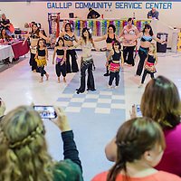 110814       Cable Hoover<br /> <br /> Belly dancers from Foundations of Freedom dance studio perform for the crowd at the Recycled Arts and Crafts Fair at the Gallup Community Service center Saturday.