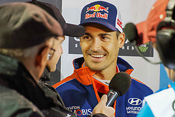 October 26, 2017 - Deeside, Wales, United Kingdom - 16 Dani Sordo (ESP)  of Hyundai Motorsport speaks to the media prior to the Rally GB round of the 2017 FIA World Rally Championship. (Credit Image: © Hugh Peterswald/Pacific Press via ZUMA Wire)