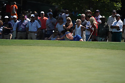 August 10, 2018 - St. Louis, Missouri, United States - Chris Wood hits out of a greenside bunker on the 9th hole during the second round of the 100th PGA Championship at Bellerive Country Club. (Credit Image: © Debby Wong via ZUMA Wire)