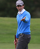 Nicolo Ravano (ITA) on the 8th green during Round 1 of the Volopa Irish Challenge in Tullow, Co. Carlow on Thursday 8th October 2015.<br /> Picture:  Thos Caffrey / www.golffile.ie