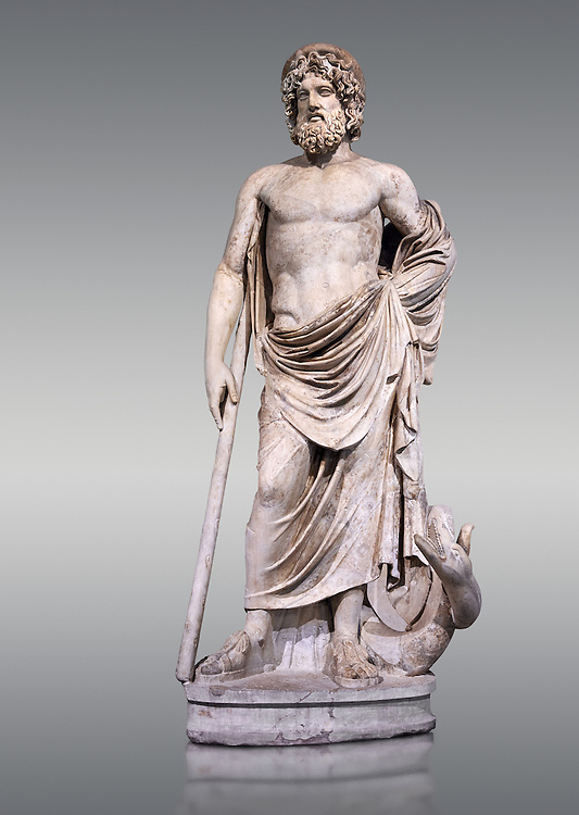 """Statue of Esculape or Asclepius - a second century AD Roman sculpture. Asclepius represents the healing aspect of the medical arts, his daughters included Hygieia, """"Hygiene"""" the goddess/personification of health, cleanliness, and sanitation as well as Iaso, the goddess of recuperation from illness and Aceso the goddess of the healing process.  The Albani Collection, Inv No.  Ma 929, Louvre Museum, Paris. .<br /> <br /> If you prefer to buy from our ALAMY STOCK LIBRARY page at https://www.alamy.com/portfolio/paul-williams-funkystock/greco-roman-sculptures.html- Type -    Louvre    - into LOWER SEARCH WITHIN GALLERY box - Refine search by adding a subject, place, background colour,etc.<br /> <br /> Visit our CLASSICAL WORLD HISTORIC SITES PHOTO COLLECTIONS for more photos to download or buy as wall art prints https://funkystock.photoshelter.com/gallery-collection/The-Romans-Art-Artefacts-Antiquities-Historic-Sites-Pictures-Images/C0000r2uLJJo9_s0c"""