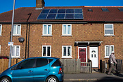 A house on Forest Road, Walthamstow with newly installed photo voltaic (PV) panels. London, UK.