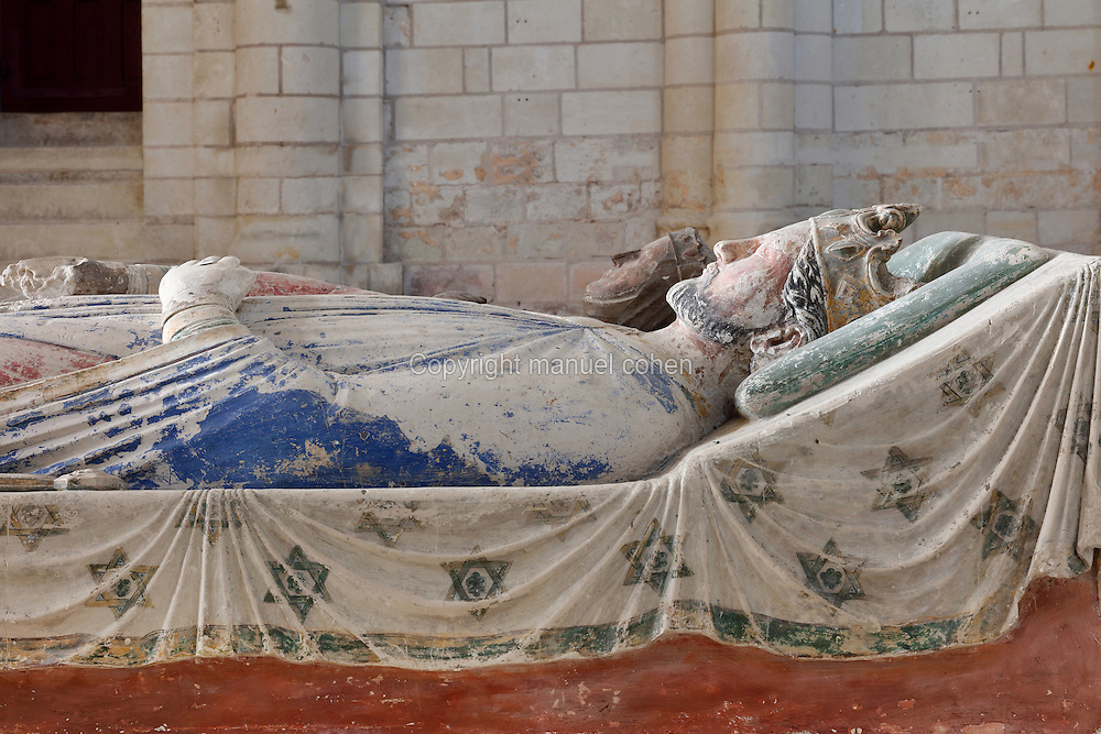 Royal tomb of Richard the Lionheart in the nave of the Abbey Church at Fontevraud Abbey, Anjou, France. Richard the Lionheart, son of King Henry II and Eleanor of Aquitaine, ruled as King Richard I of England 1189-1199. As a member of the House of Plantagenet, he was a benefactor of the monastery. His heart was buried at Rouen cathedral and his body buried here, although his remains were scattered by Huguenots in 1562 when the Abbey was sacked. The effigy is carved in stone and was painted, Richard wears his crown and his robes are blue and red. Fontevraud Abbey was founded in 1100 by Robert of Arbrissel and became a double monastery for both monks and nuns, led by an Abbess. The Order was dissolved during the French Revolution. Picture by Manuel Cohen