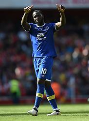 Everton's Romelu Lukaku applauds the away fans at full time
