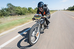 Harley-Davidson Museum Archive Restorer/Conservator Bill Rodencal of Wisconsin on his 1915 Harley-Davidson during the Motorcycle Cannonball Race of the Century. Stage-8 from Wichita, KS to Dodge City, KS. USA. Saturday September 17, 2016. Photography ©2016 Michael Lichter.