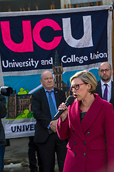 Pictured: Gillian Martin MSP<br /> University pensions row rally was held outside the Scottish Parliament in Edinburgh today. University staff were joined by politicians and students as part of the strike action event. <br /> <br /> Ger Harley   EEm 8 March 2018
