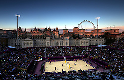 File photo dated 28-07-2012 of Brazil's Cunhu and Ricardo take on Norway's Skarlund and Spinnangr in the Men's Beach Volleyball Pool F match at Horse Guards Parade, London.