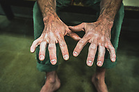 Palmer Larsen's hands, Millcreek Momentum Climbing Gym, Salt Lake City, Utah.