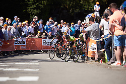 Leaders come into view on Mur de Huy at La Flèche Wallonne Femmes 2018, a 118.5 km road race starting and finishing in Huy on April 18, 2018. Photo by Sean Robinson/Velofocus.com