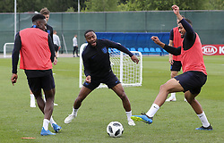 England's Raheem Sterling (centre), Danny Welbeck (left) and Ruben Loftus-Cheek (right) during the training session at the Spartak Zelenogorsk Stadium, Repino.