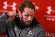 Alun Wyn Jones the Wales rugby team captain speaks to the media during the Wales rugby team announcement press conference at the Vale Resort Hotel in Hensol, near Cardiff , South Wales on Thursday 23rd November 2017.  the team are preparing for their Autumn International series test match against New Zealand this weekend.   pic by Andrew Orchard