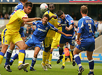 Photo: Frances Leader.<br />Millwall v Cardiff City. Coca Cola Championship.<br />24/09/2005.<br /><br />Cardiff's Michael Ricketts attempts a header into goal in the first half