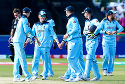 England celebrate beating New Zealand and booking their place in the semi-final of the Cricket World Cup - Mandatory by-line: Robbie Stephenson/JMP - 03/07/2019 - CRICKET - Emirates Riverside - Chester-le-Street, England - England v New Zealand - ICC Cricket World Cup 2019 - Group Stage