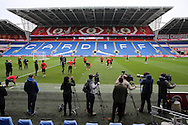 a general view as the media and cameras keep a close eye on Wales football team training at the Cardiff city Stadium in Cardiff , South Wales on Saturday 8th October 2016, the team are preparing for their FIFA World Cup qualifier home to Georgia tomorrow. pic by Andrew Orchard, Andrew Orchard sports photography