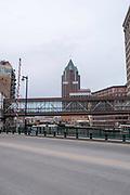 View along Milwaukee's River Walk, Milwaukee, Wisconsin, USA.