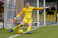 Southend United goalkeeper Nathan Bishop (13) clears the ball from his line during the EFL Sky Bet League 1 match between Southend United and Luton Town at Roots Hall, Southend, England on 26 January 2019.