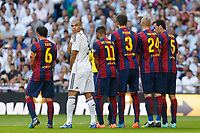 Real Madrid´s Pepe (2L) and Barcelona´s Xavi Hernandez, Neymar Jr, Pique, Mathieu and Sergio Busquets during La Liga match between Real Madrid and F.C. Barcelona in Santiago Bernabeu stadium in Madrid, Spain. October 25, 2014. (ALTERPHOTOS/Victor Blanco)