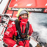Leg 02, Lisbon to Cape Town, day 17, on board MAPFRE, Sophie Ciszek at the aft pedestal. Photo by Ugo Fonolla/Volvo Ocean Race. 21 November, 2017