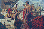 Building New Moscow' oil on canvas by V. Ryabinin, c1950.  Men and women construction workers on building site.
