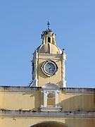 Clock tower on the top of  Arco de Santa Catalina, the Saint Catalina Arch.  Antigua Guatemala, Republic of Guatemala. 03Mar14