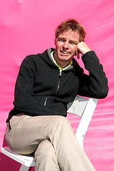 Dec 03 2007. New Orleans, Louisiana. Lower 9th Ward.<br /> Brad Pitt revisits the Lower 9th ward, devastated by Hurricane Katrina to present 'Make it Right' where architects' designs are unveiled to the public. One of the winning design Architects, Winy Maas of MVRDV, Netherlands with a pink background for the pink project.<br /> Photo credit; Charlie Varley.