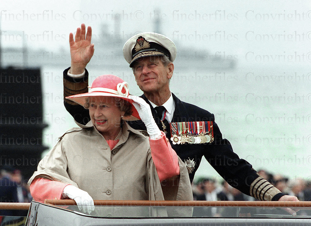 Queen Elizabeth and Prince Phillip seen in Arromanche, France during the ceremonies for the D-Day Landing Commemorations in 1994.