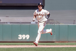 June 3, 2018 - San Francisco, CA, U.S. - SAN FRANCISCO, CA - JUNE 03: San Francisco Giants Catcher Buster Posey (28) rounds the bases after hitting a solo home run during the MLB game between the Philadelphia Phillies and San Francisco Giants on June 3, 2018, at AT&T Park in San Francisco, CA. (Photo by Bob Kupbens/Icon Sportswire) (Credit Image: © Bob Kupbens/Icon SMI via ZUMA Press)