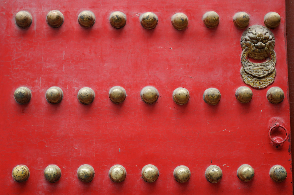 A door at the northern end of the Forbidden City in Beijing, China.
