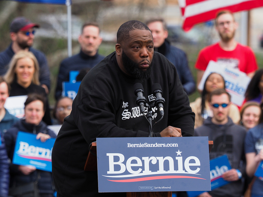 """Rapper Michael """"Killer Mike"""" Santiago Render addresses supporters of Presidential candidate Bernie Sanders at the final South Carolina rally before the February 29 primary vote."""