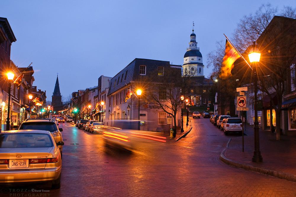 Downtown, main street, historic Annapolis, Maryland USA