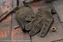 Gloves on Shinya Kimura's  workbench inside his Chabott Engineering shop in Azusa, CA. USA. Wednesday June 27, 2018. Photography ©2018 Michael Lichter.