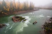 Jet boat on lower Bulkley River near Hazelton, BC.