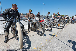 Matt Harris (L), Billy Lane (2nd) and Rick Petko (3rd) with all the other racers lined up just before the Son's of Speed race during Daytona Bike Week. New Smyrna Beach, FL. USA. Saturday March 18, 2017. Photography ©2017 Michael Lichter.