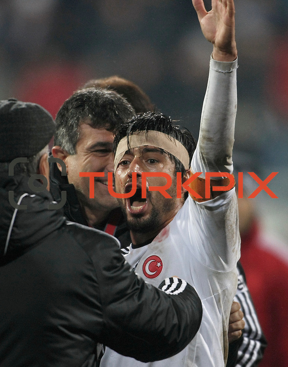 Besiktas's Ibrahim Toraman celebrate victory during their Turkish superleague soccer match Besiktas between Gaziantepspor at BJK Inonu Stadium in Istanbul Turkey on Tuesday, 05 January 2012. Photo by TURKPIX