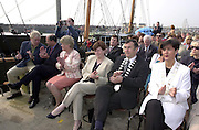 Local dignatories, Cllr. Norma Foley, Cllr Ted Fitzgerald, David Ervine and Jimmy Deenihan applaud President mcAlleece. at the naming ceremony of the Jeanie Johnston on Sunday..Picture by Don MacMonagle