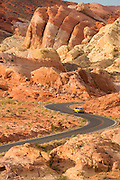 A road winds through the Valley of Fire State Park, Nevada.