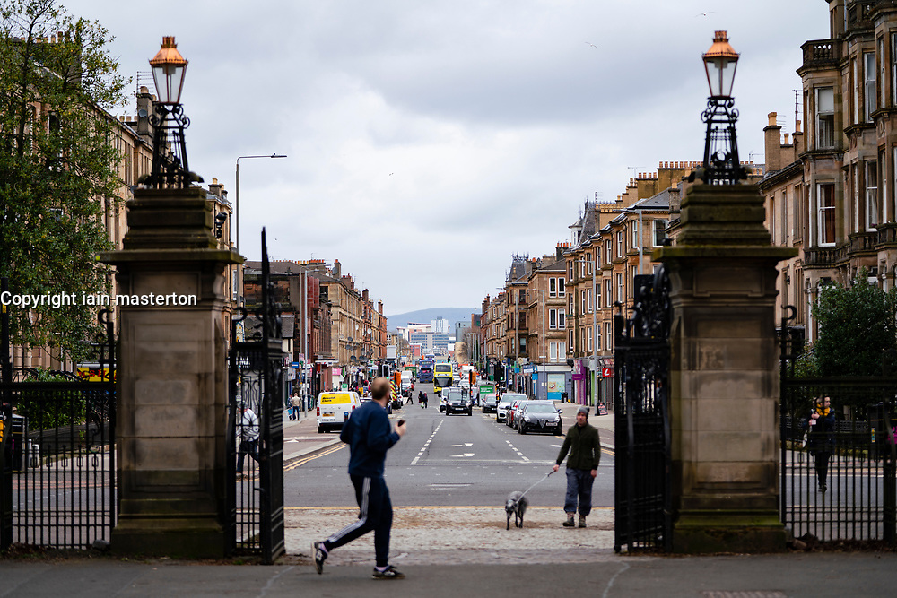 Glasgow, Scotland, UK. 3 April, 2020. Images from the south side of Glasgow at the end of the second week of Coronavirus lockdown. View along a very quiet Victoria Road in Govanhill.  Iain Masterton/Alamy Live News