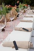Tables set for a business event reception