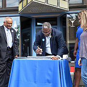 Rail Rally, Kansas City Streetcar construction, July 29, 2015. Mayor Sly James signing last piece of rail.
