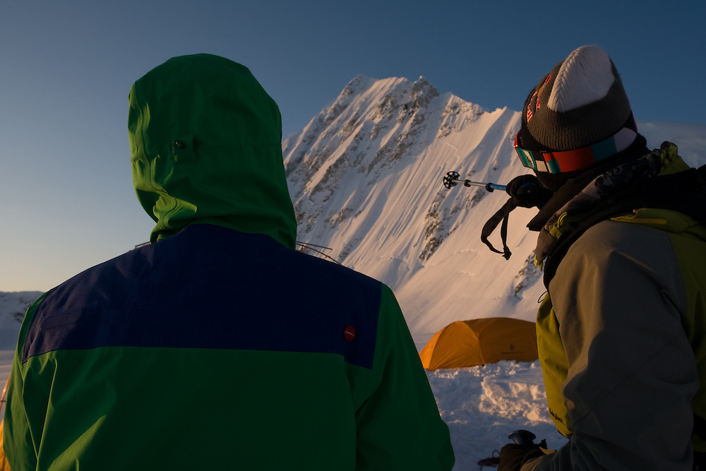 Jeremy Jones and Travis Rice discuss options on the breakfast table -a face named as it only received pre-breakfast light, Deeper, AK.