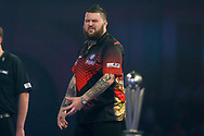 Michael Smith shows disappointment during the 2019 William Hill World Darts Championship Final at Alexandra Palace, London, United Kingdom on 1 January 2019.