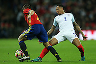 Nathaniel Clyne of England tackles Cesar Azpilicueta of Spain. England v Spain, Football international friendly at Wembley Stadium in London on Tuesday 15th November 2016.<br /> pic by John Patrick Fletcher, Andrew Orchard sports photography.